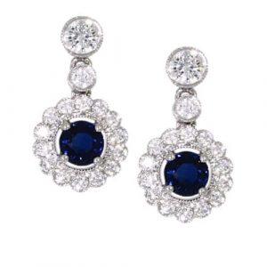 Sapphire & Diamond Round Drops
