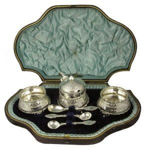 Victorian Silver Condiment Set