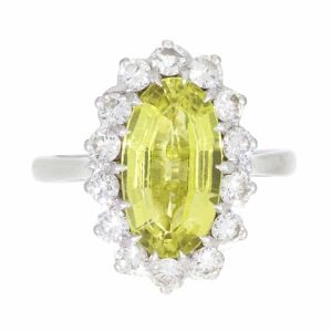 Chrysoberyl & Diamond Ring