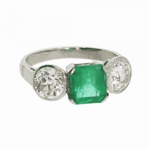Art Deco Emerald and Diamond 3 Stone Ring