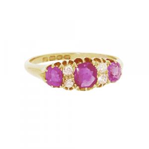 1907 Ruby & Diamond Half Hoop Ring