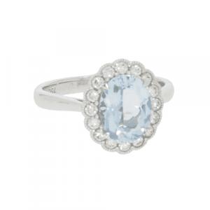 Aquamarine & Diamond Art Deco Style Cluster