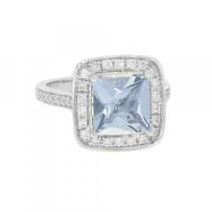 Aquamarine & Diamond Cluster