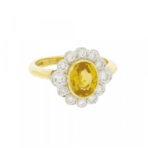 Yellow Sapphire & Diamond Art Deco Style Cluster