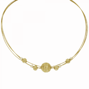 9ct Gold Beaded Wire Necklace