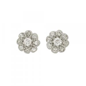 Period Diamond Daisy Cluster Stud Earrings