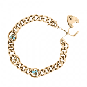 Rose Gold Curb Bracelet with Turquoise & Pearl