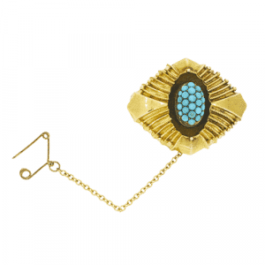 Victorian Lozenge Shaped Brooch with Turquoise