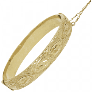 9ct Gold Hand Engraved Bangle