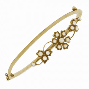 Victorian Pearl Flower Bangle