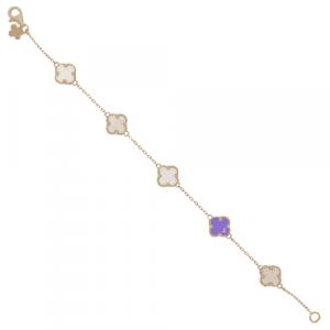 Amethyst & Quartz Clover Bracelet