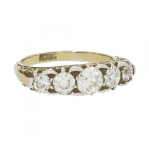 Victorian Carved 5 Stone Diamond Ring