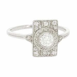 Art Deco Platinum & Diamond Rectangular Cluster