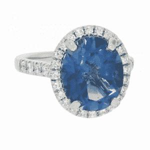 Blue Topaz & Diamond Halo Cluster Ring